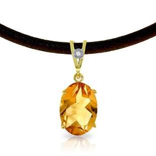 7.56 CTW 14K Solid Gold Gratitude Citrine Diamond Neckl