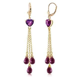 9.5 CTW 14K Solid Gold Chandelier Earrings Briolette Am