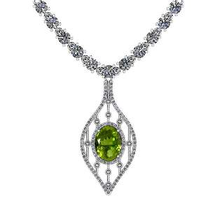 7.20 Ctw Peridot And Diamond I2/I3 14K White Gold Penda