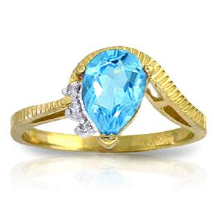 1.52 Carat 14K Solid Gold Homecoming Blue Topaz Diamond
