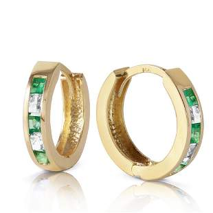 1.26 CTW 14K Solid Gold Hoop Earrings Natural Emerald W