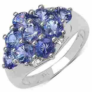 2.07 CTW Genuine Tanzanite .925 Sterling Silver Ring
