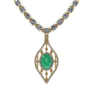9.00 Ctw SI2/I1 Emerald And Diamond 14K Yellow Gold Nec