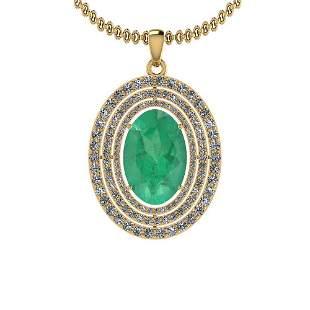 3.30 Ctw Emerald And Diamond I2/I3 14K Yellow Gold Vict