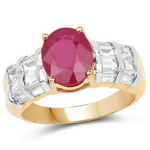 14K Yellow Gold Plated 4.72 CTW Glass Filled Ruby and W