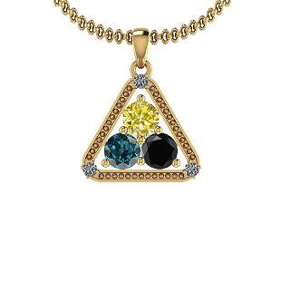 1.60 Ctw Treated Black ,Yellow,Blue Diamond And White D