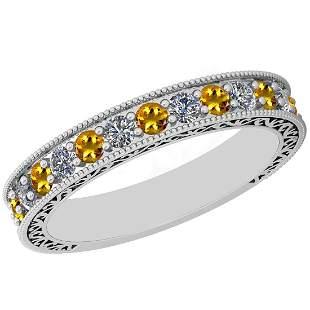 0.83 Ctw VS/SI1 Yellow Sapphire And Diamond 14K White G