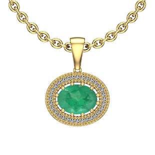 2.68 Ctw Emerald And Diamond I2/I3 14K Yellow Gold Vict