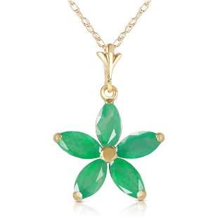 1.4 Carat 14K Solid Gold Lulu Emerald Necklace