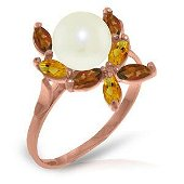 14K Solid Rose Gold Ring with Natural Garnets, Citrines