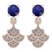 3.31 Ctw I2/I3 Blue Sapphire And Diamond 14K Rose Gold