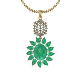 8.75 Ctw VS/SI1 Emerald And Diamond 14K Yellow Gold