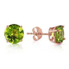 3.1 CTW 14K Solid Rose Gold Stud Earrings Natural Perid