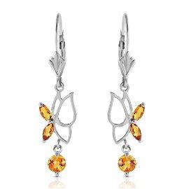 0.8 Carat 14K Solid White Gold Irena Citrine Earrings