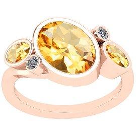 3.07 Ctw Citrine And Diamond I2/I3 10K Rose Gold Vintag