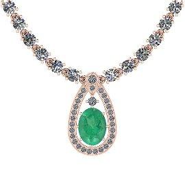 20.93 Ctw I2/I3 Emerald And Diamond 14K Rose Gold Neckl