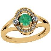 0.74 Ctw Emerald And Diamond I2/I3 14K Yellow Gold Vint