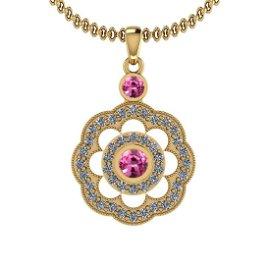 1.03 Ctw VS/SI1 Pink Sapphire And Diamond 14K Yellow Go