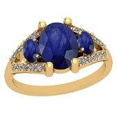 2.70 CtwBlue Sapphire And Diamond I2/I3 10K Yellow Gold
