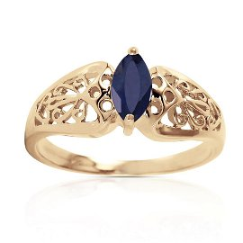 0.2 Carat 14K Solid Gold Lily Sapphire Ring