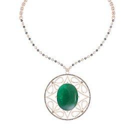 58.57 Ctw VS/SI1 Emerald And Diamond 14k Rose Gold Vict