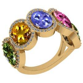 1.50 Ctw I2/I3 Multi Sapphire ,Tanzanite And Diamond 10