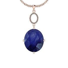 4.05 Ctw Blue Sapphire And Diamond I2/I3 14K Rose Gold