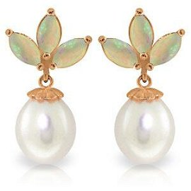 14K Solid Rose Gold Dangling Earrings with pearls & Opa