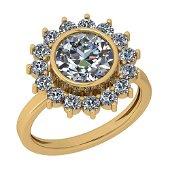 2.25 Ctw Diamond I2/I3 14K Rose Gold Vintage Style Halo