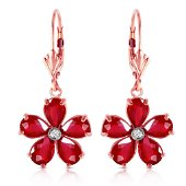 14K Solid Rose Gold Leverback Earrings withRubies & Dia