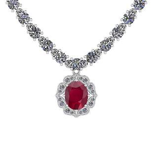 6.38 Ctw SI2/I1 Ruby And Diamond 14K White Gold Necklac