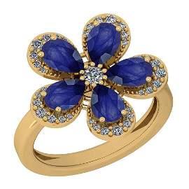 2.80 CtwBlue Sapphire And Diamond I2/I314K Yellow Gold