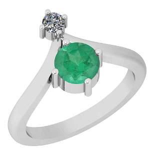 1.00 Ctw VS/SI1 Emerald And Diamond Platinum Ring