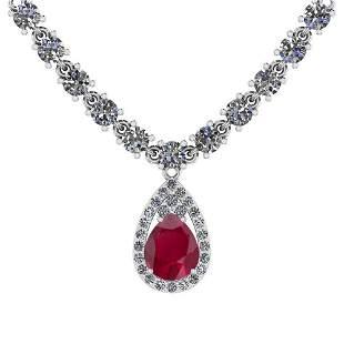 14.44 Ctw SI2/I1 Ruby And Diamond 14K White Gold Neckla