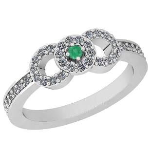 0.38 Ctw VS/SI1 Emerald And Diamond Platinum Ring