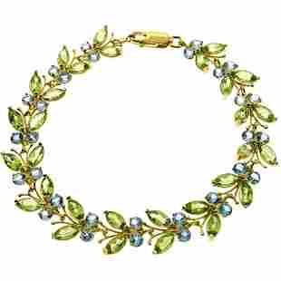16.5 Carat 14K Solid Gold Butterfly Bracelet Peridot Bl