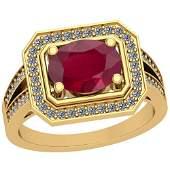 1.53 Ctw Ruby And Diamond I2/I3 14K Rose Gold Vintage S