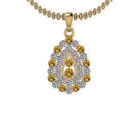 1.15 Ctw VS/SI1 Yellow Sapphire And Diamond 14K Rose Go