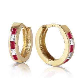 1.26 Carat 14K Solid Gold Hoop Earrings Natural Ruby Wh