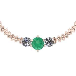 3.20 Ctw VS/SI1 Emerald And Diamond 14K Rose Gold Vinta