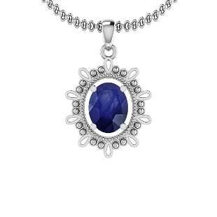 2.00 Ctw Blue Sapphire 14K White Gold Necklace