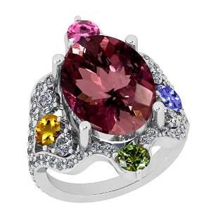 11.01 Ctw SI2/I1 Multi Sapphire,Pink Tourmaline And Dia