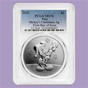 2020 Niue 1 oz Silver $2 Disney Mickey Christmas MS-70