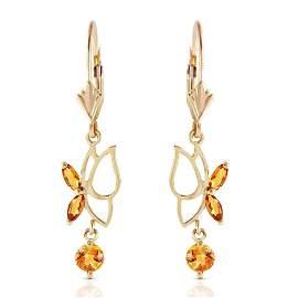 0.8 Carat 14K Solid Gold Flutter Fly Citrine Earrings