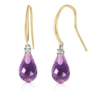 4.6 CTW 14K Solid Gold Joya Amethyst Diamond Earringss