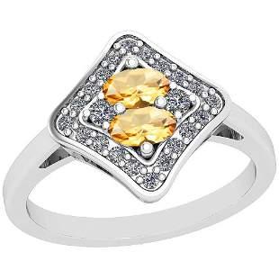 1.33 Ctw I2/I3 Citrine And Diamond 10K White Gold Vinta