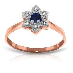 14K Solid Rose Gold Ring withNatural Diamonds & Sapphir