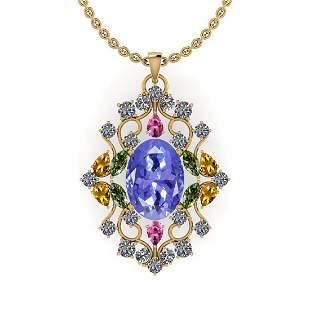 12.10 Ctw SI2/I1 Multi Sapphire,Tanzanite And Diamond 1