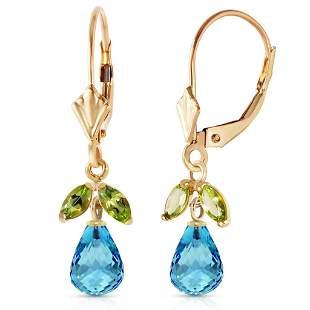 3.4 Carat 14K Solid Gold Leverback Earrings Blue Topaz