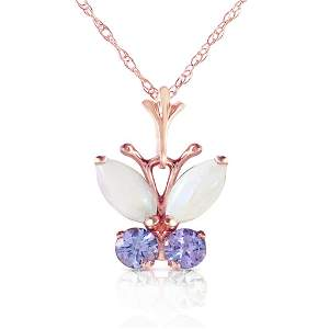 0.7 Carat 14K Solid Rose Gold Butterfly Necklace Opal T